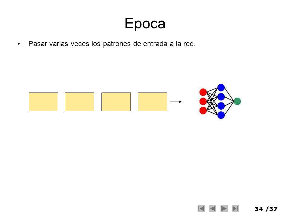34/37 Epoca Pasar varias veces los patrones de entrada a la red.