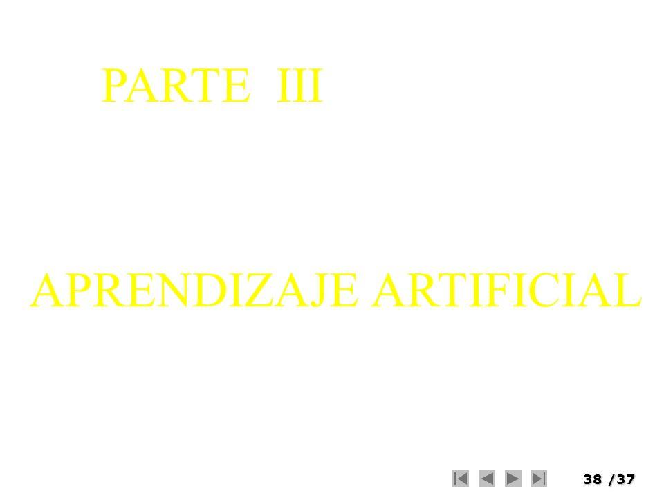 38/37 APRENDIZAJE ARTIFICIAL PARTE III