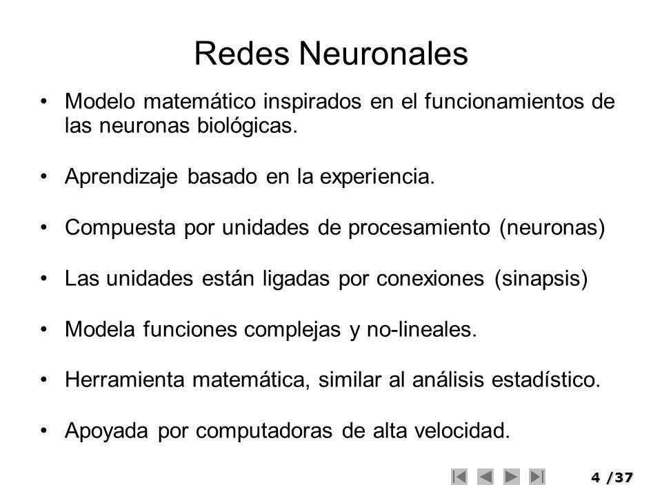 4/37 Modelo matemático inspirados en el funcionamientos de las neuronas biológicas. Aprendizaje basado en la experiencia. Compuesta por unidades de pr