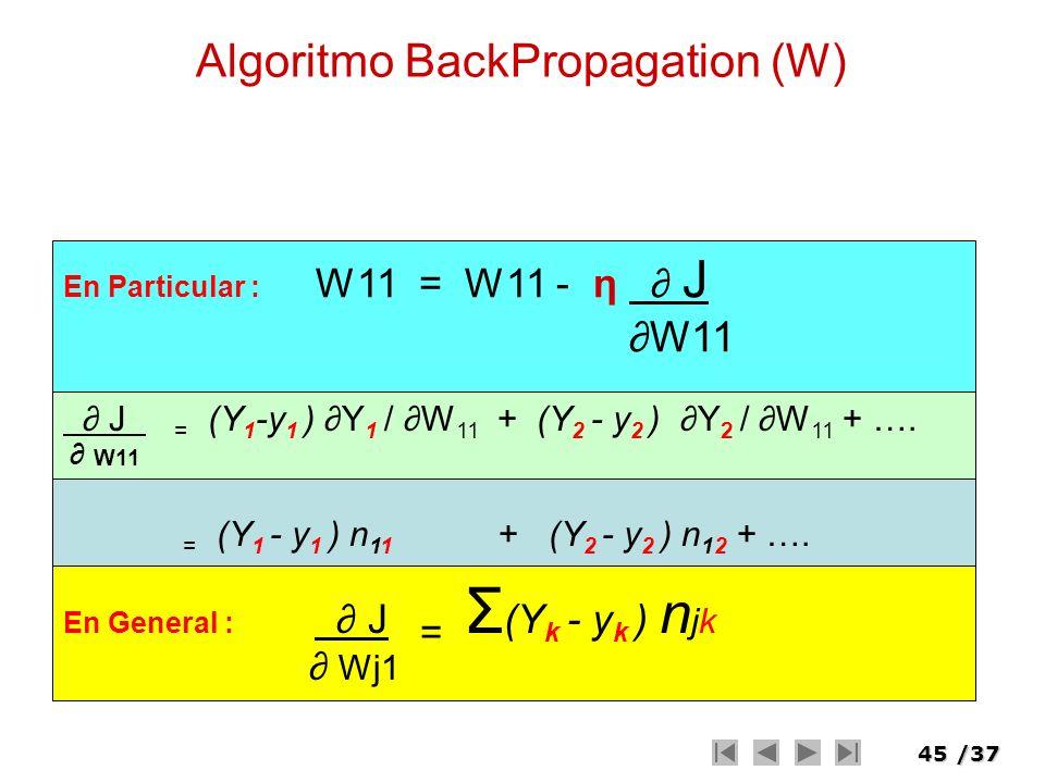 45/37 Algoritmo BackPropagation (W) En Particular : W11 = W11 - η J W11 J = (Y 1 -y 1 ) Y 1 / W 11 + (Y 2 - y 2 ) Y 2 / W 11 + …. W11 = (Y 1 - y 1 ) n
