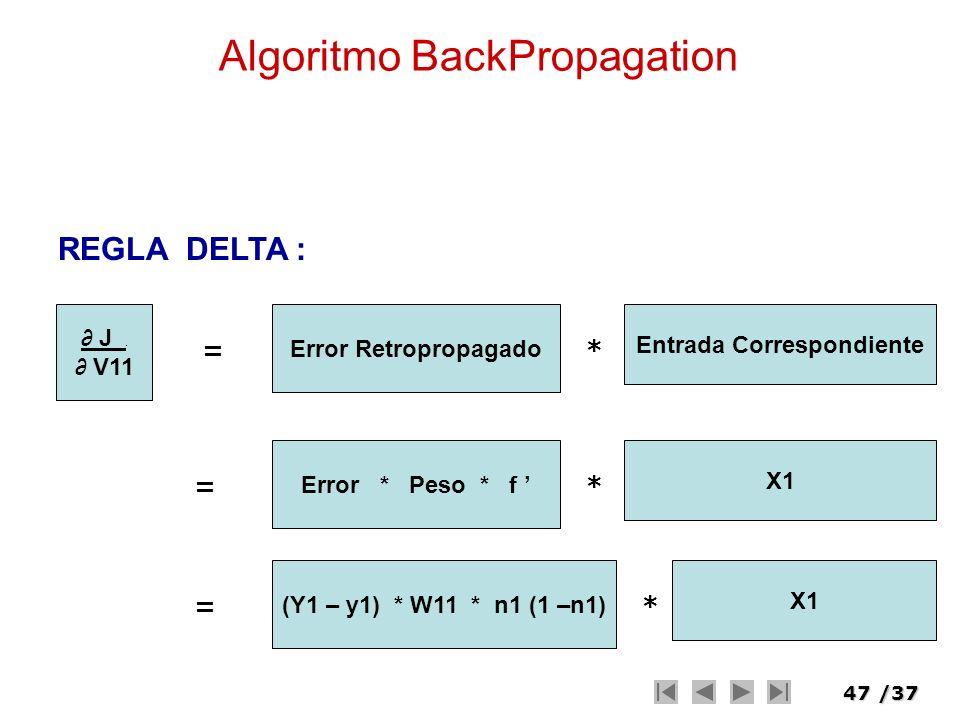 47/37 Algoritmo BackPropagation J. V11 = Error Retropropagado Entrada Correspondiente * REGLA DELTA : = Error * Peso * f X1 * = (Y1 – y1) * W11 * n1 (