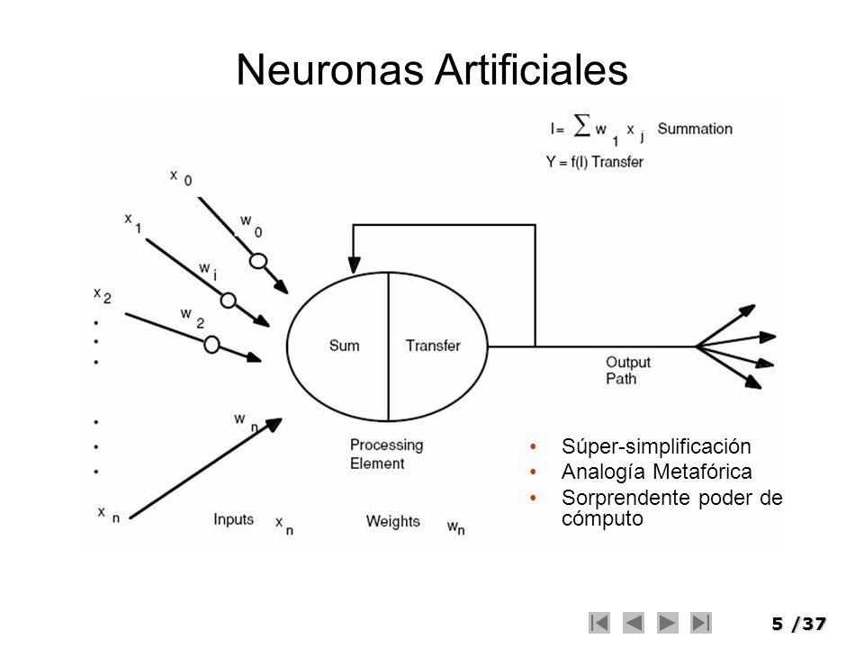 5/37 Neuronas Artificiales Súper-simplificación Analogía Metafórica Sorprendente poder de cómputo