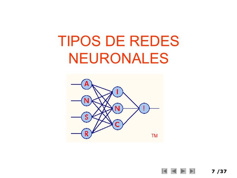 7/37 TIPOS DE REDES NEURONALES