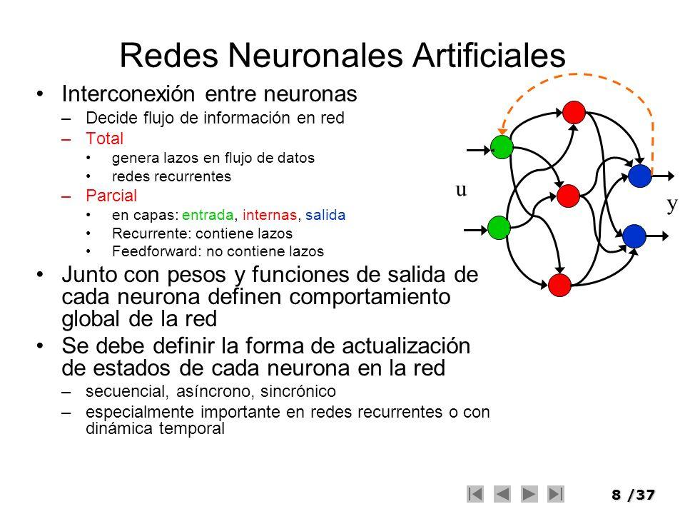 8/37 Redes Neuronales Artificiales Interconexión entre neuronas –Decide flujo de información en red –Total genera lazos en flujo de datos redes recurr