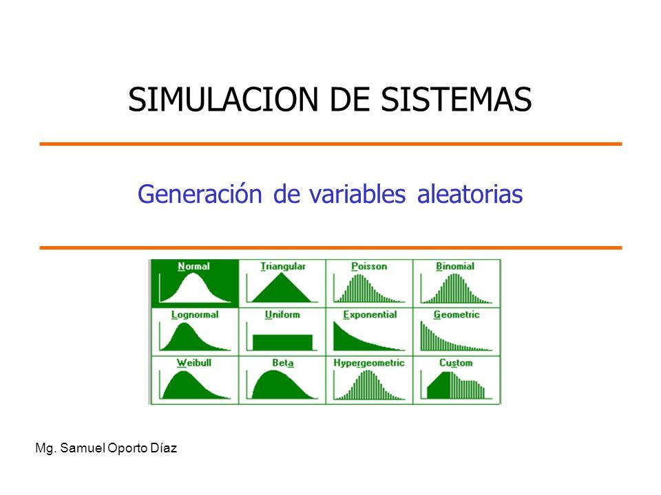 Generación de variables aleatorias Mg. Samuel Oporto Díaz SIMULACION DE SISTEMAS