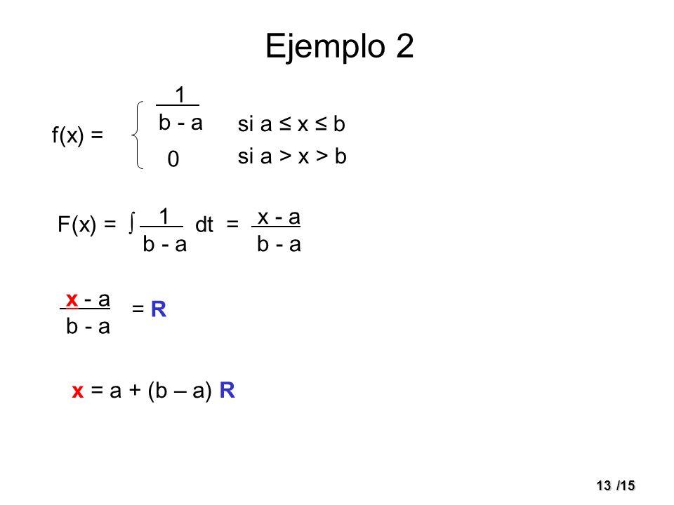 13/15 Ejemplo 2 si a x b si a > x > b f(x) = F(x) = 1. b - a 0 1. b - a dt = x - a. b - a x - a. b - a = R x = a + (b – a) R