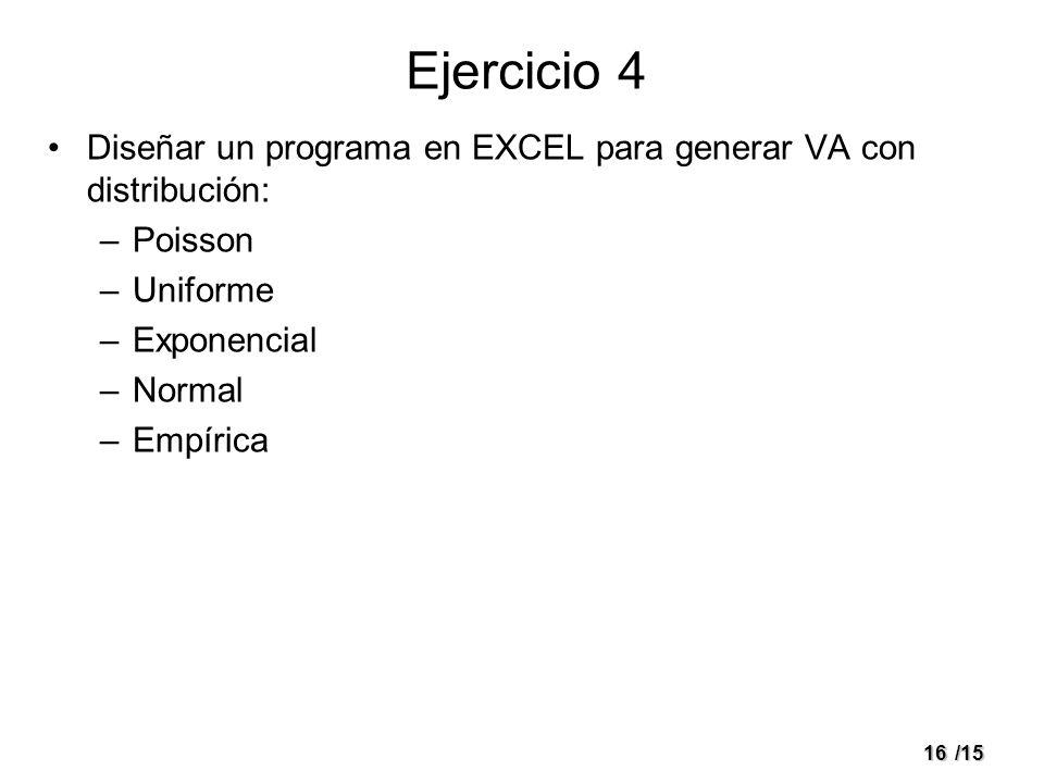 16/15 Ejercicio 4 Diseñar un programa en EXCEL para generar VA con distribución: –Poisson –Uniforme –Exponencial –Normal –Empírica