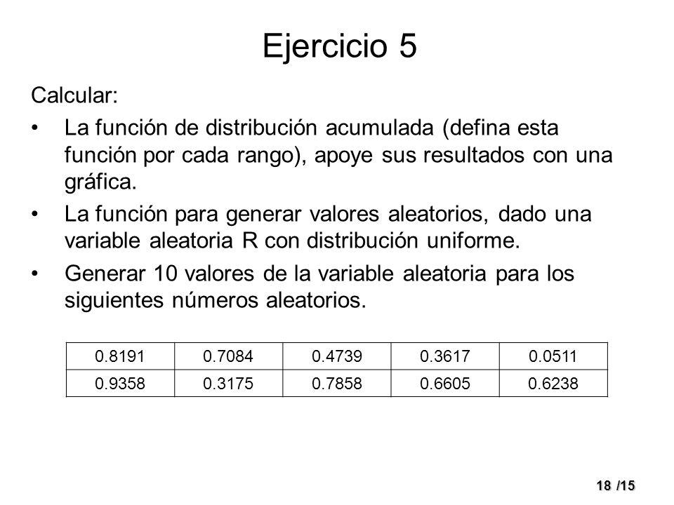 18/15 Ejercicio 5 Calcular: La función de distribución acumulada (defina esta función por cada rango), apoye sus resultados con una gráfica. La funció