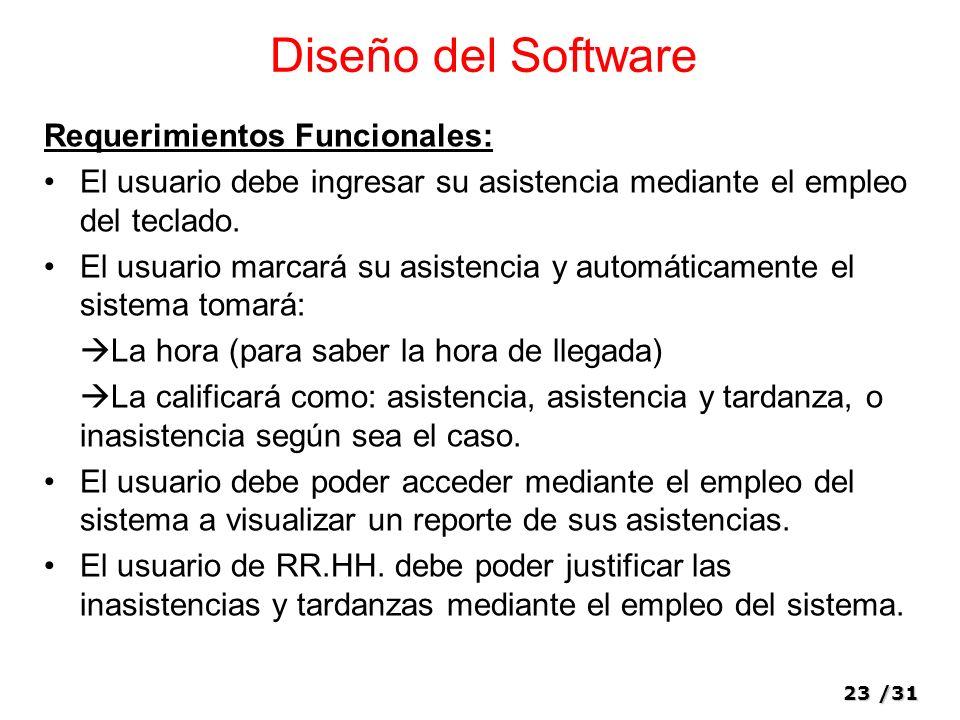 23/31 Diseño del Software Requerimientos Funcionales: El usuario debe ingresar su asistencia mediante el empleo del teclado.