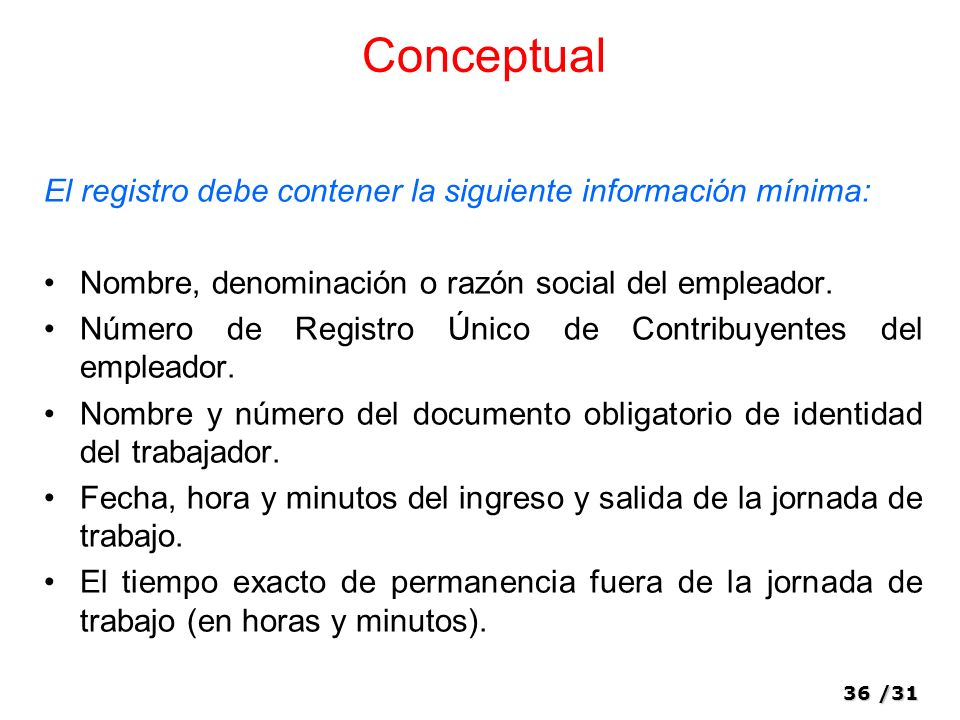 36/31 Conceptual El registro debe contener la siguiente información mínima: Nombre, denominación o razón social del empleador.