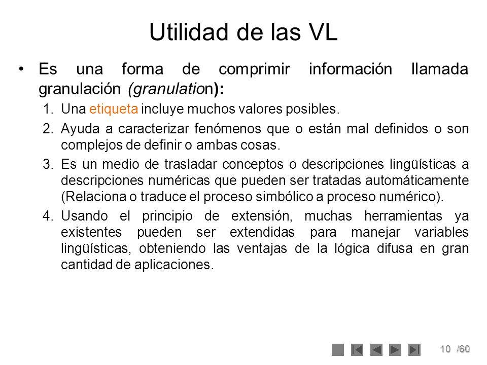 10/60 Utilidad de las VL Es una forma de comprimir información llamada granulación (granulation): 1.Una etiqueta incluye muchos valores posibles. 2.Ay