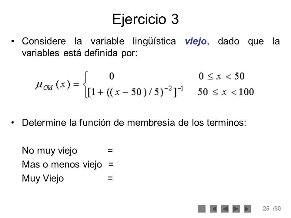 25/60 Ejercicio 3 Considere la variable lingüística viejo, dado que la variables está definida por: Determine la función de membresía de los terminos: