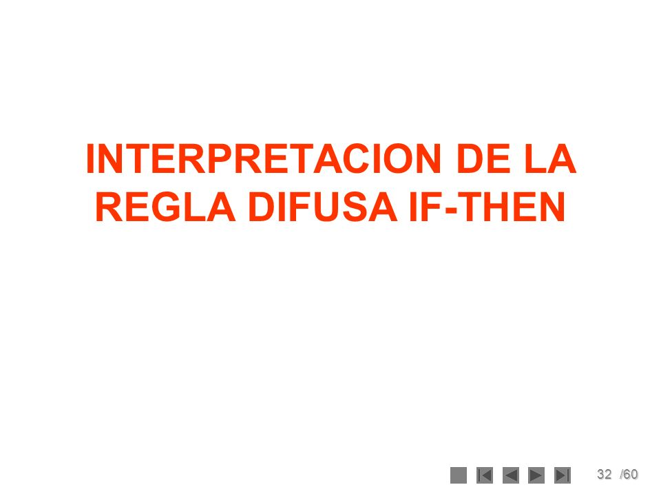 32/60 INTERPRETACION DE LA REGLA DIFUSA IF-THEN