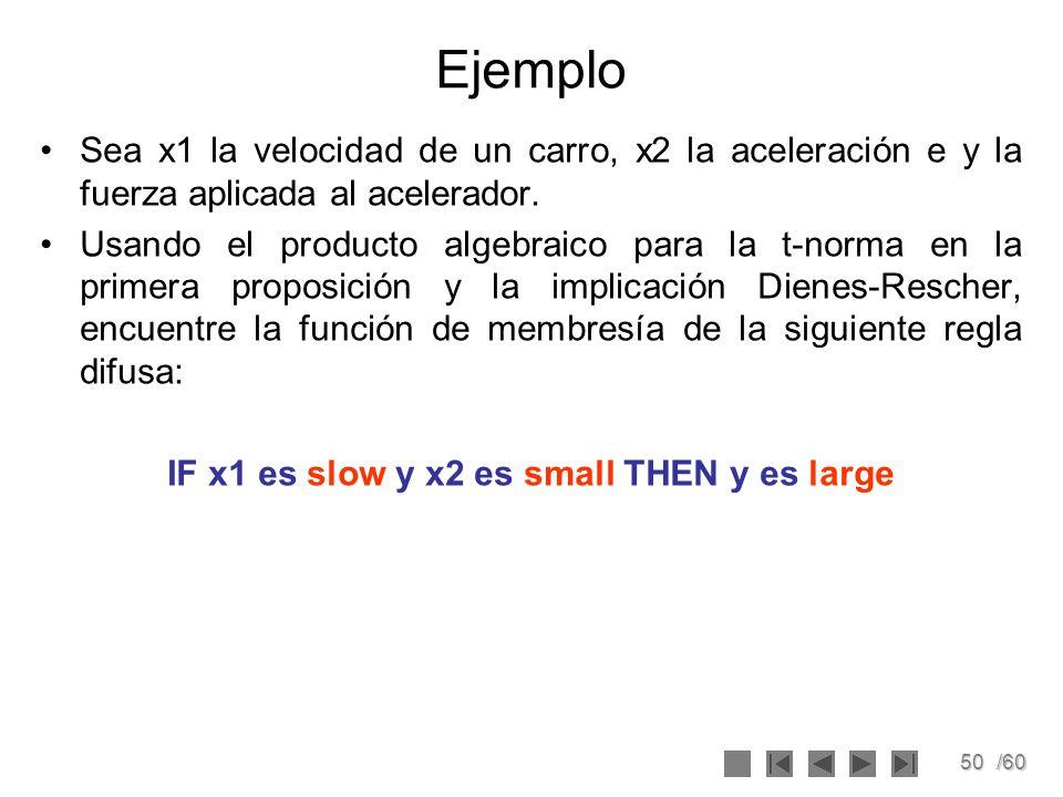 50/60 Ejemplo Sea x1 la velocidad de un carro, x2 la aceleración e y la fuerza aplicada al acelerador. Usando el producto algebraico para la t-norma e