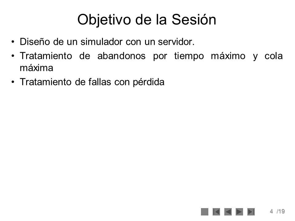4/19 Objetivo de la Sesión Diseño de un simulador con un servidor. Tratamiento de abandonos por tiempo máximo y cola máxima Tratamiento de fallas con