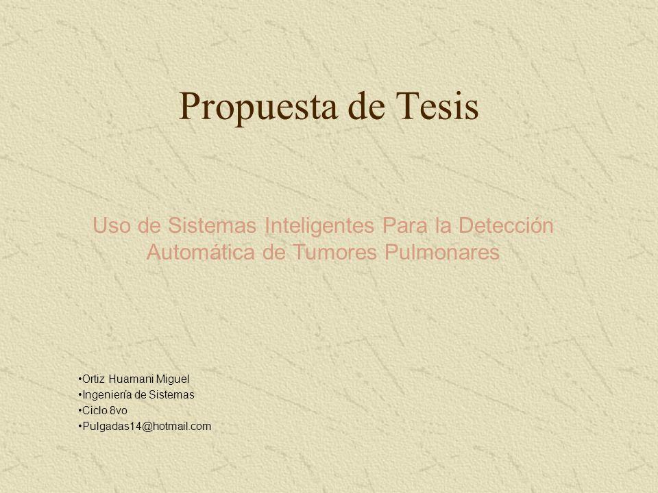 Propuesta de Tesis Uso de Sistemas Inteligentes Para la Detección Automática de Tumores Pulmonares Ortiz Huamani Miguel Ingeniería de Sistemas Ciclo 8