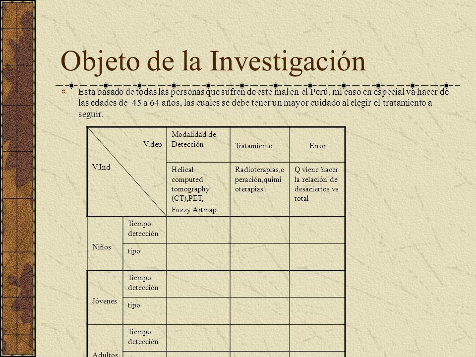 Objeto de la Investigación Esta basado de todas las personas que sufren de este mal en el Perú, mi caso en especial va hacer de las edades de 45 a 64