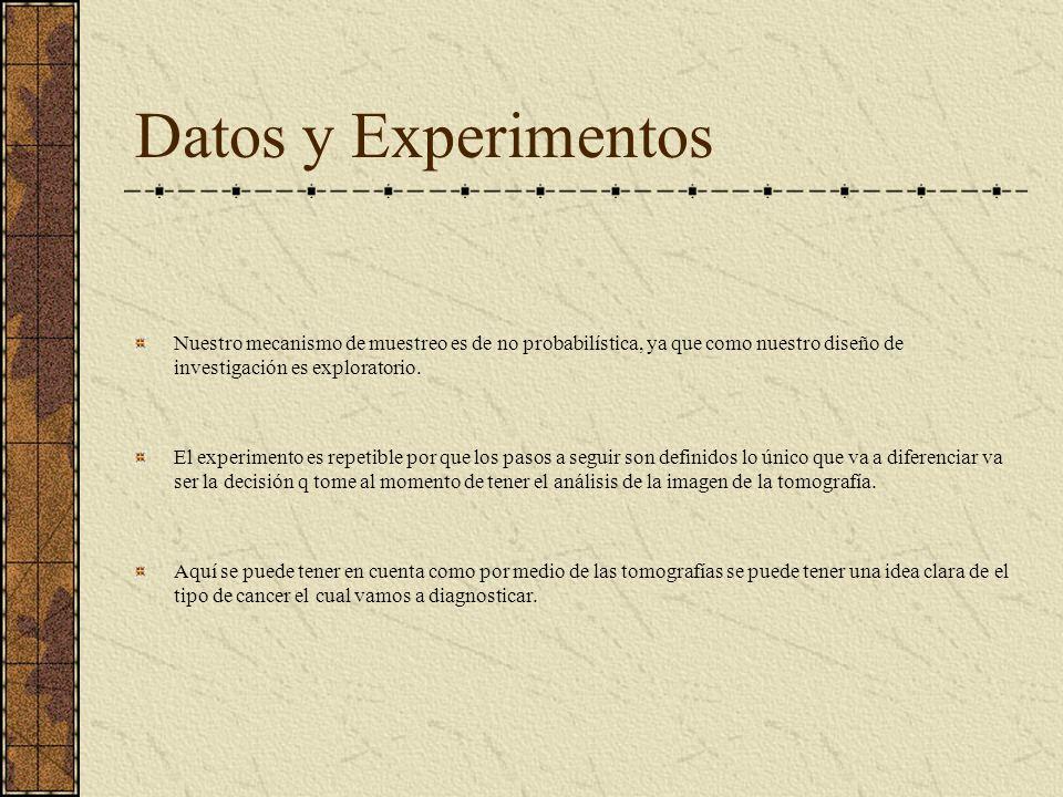 Datos y Experimentos Nuestro mecanismo de muestreo es de no probabilística, ya que como nuestro diseño de investigación es exploratorio. El experiment