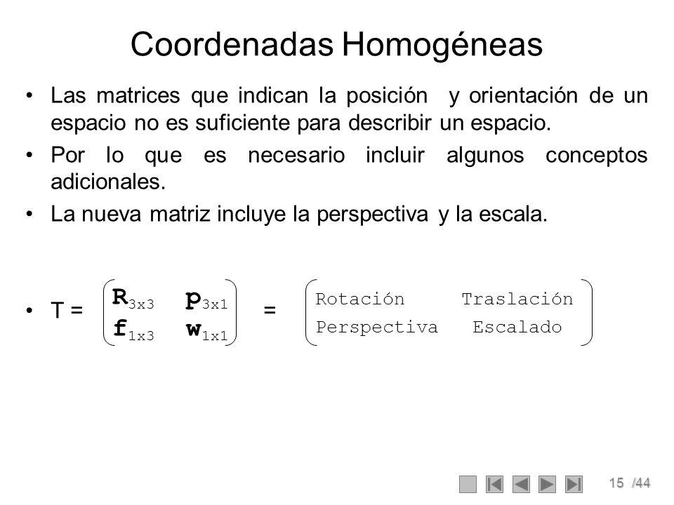 15/44 Coordenadas Homogéneas Las matrices que indican la posición y orientación de un espacio no es suficiente para describir un espacio. Por lo que e