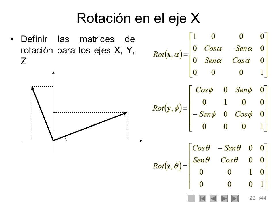 23/44 Rotación en el eje X Definir las matrices de rotación para los ejes X, Y, Z