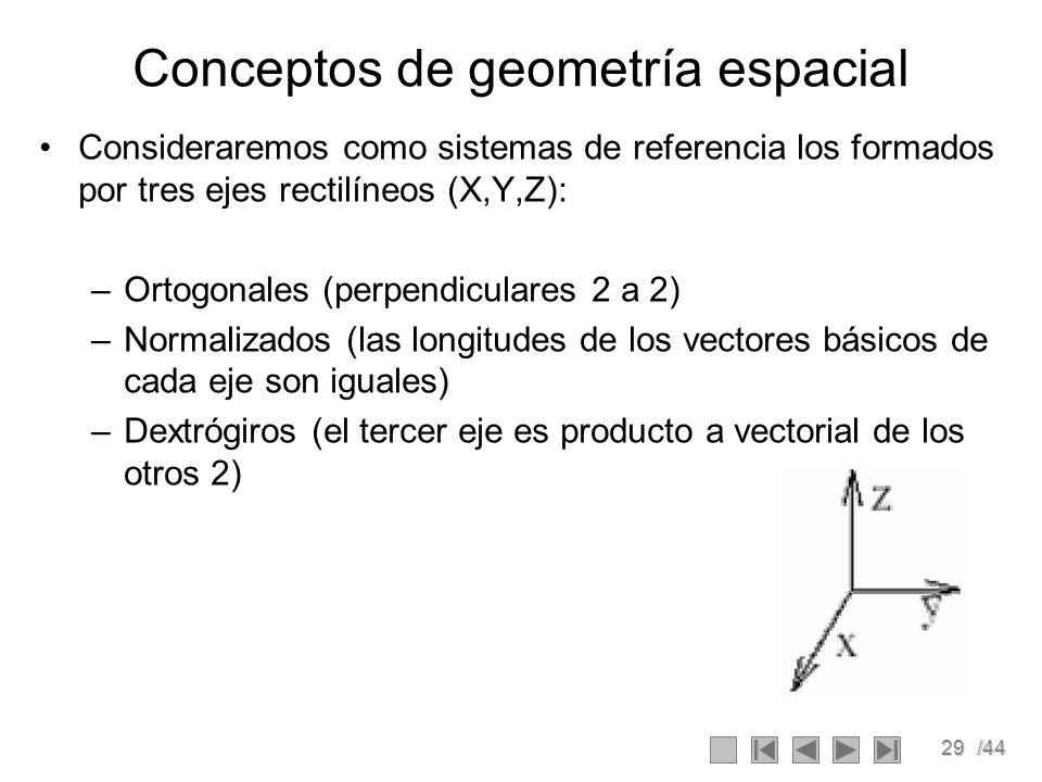 29/44 Conceptos de geometría espacial Consideraremos como sistemas de referencia los formados por tres ejes rectilíneos (X,Y,Z): –Ortogonales (perpend