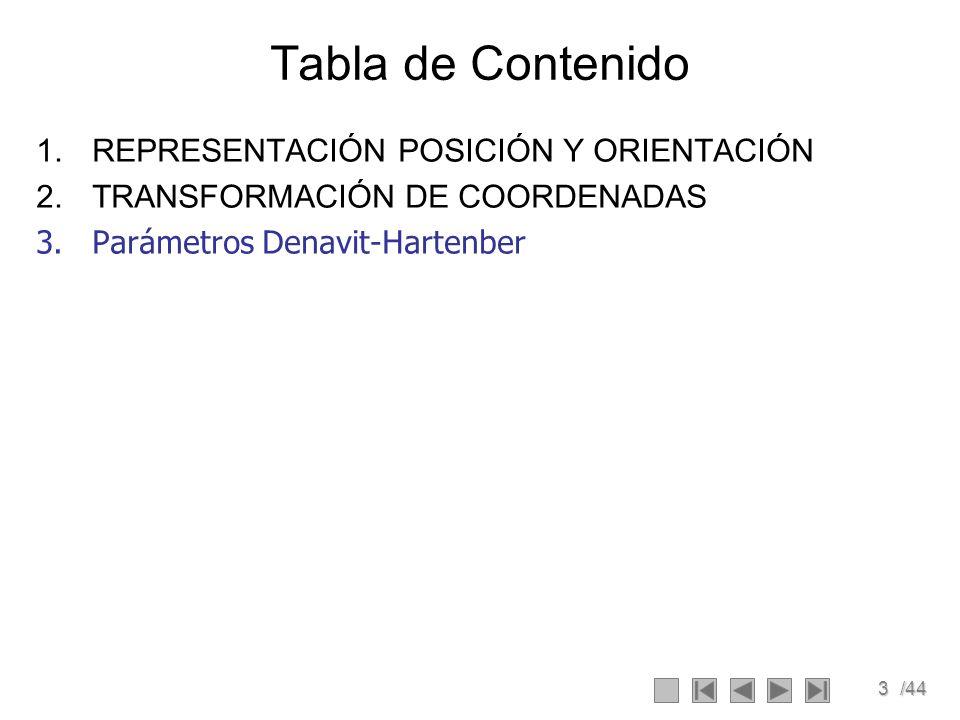 3/44 Tabla de Contenido 1.REPRESENTACIÓN POSICIÓN Y ORIENTACIÓN 2.TRANSFORMACIÓN DE COORDENADAS 3.Parámetros Denavit-Hartenber