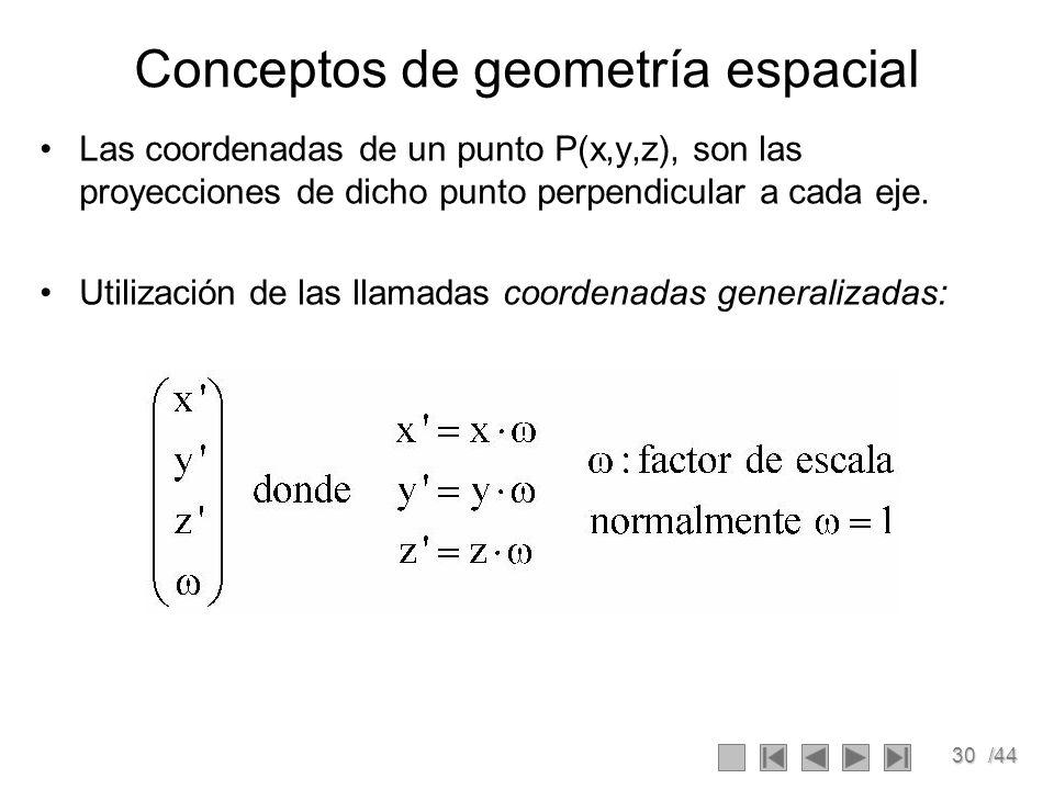 30/44 Conceptos de geometría espacial Las coordenadas de un punto P(x,y,z), son las proyecciones de dicho punto perpendicular a cada eje. Utilización
