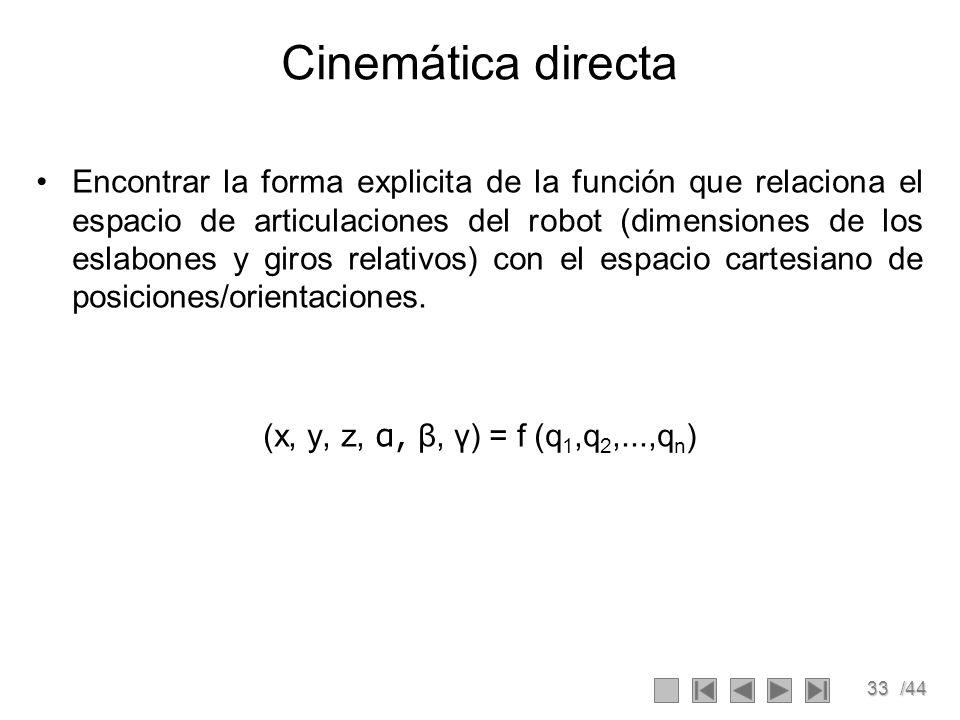 33/44 Cinemática directa Encontrar la forma explicita de la función que relaciona el espacio de articulaciones del robot (dimensiones de los eslabones
