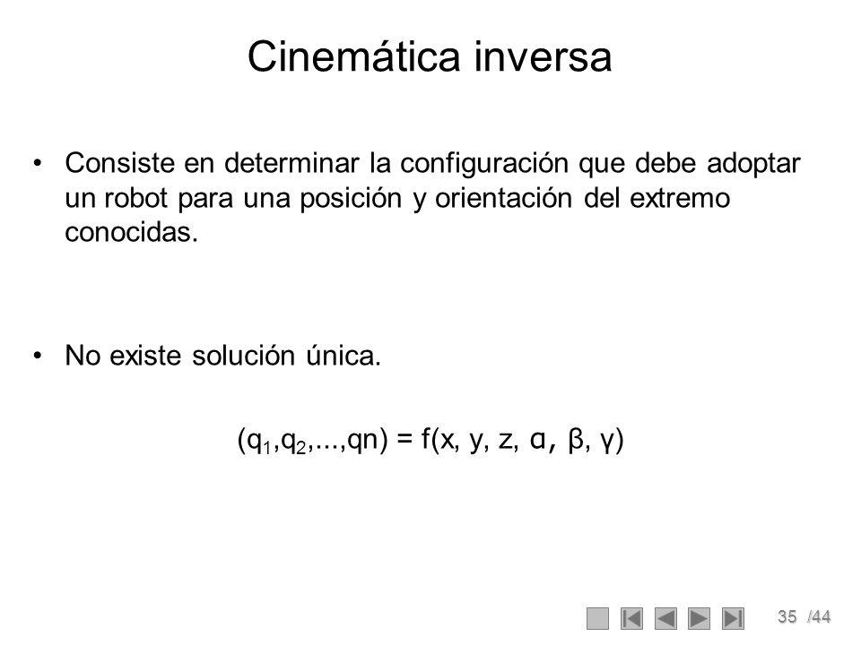 35/44 Cinemática inversa Consiste en determinar la configuración que debe adoptar un robot para una posición y orientación del extremo conocidas. No e