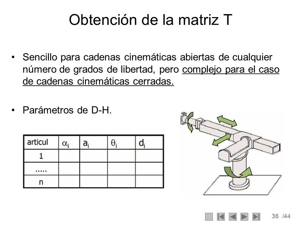 36/44 Obtención de la matriz T Sencillo para cadenas cinemáticas abiertas de cualquier número de grados de libertad, pero complejo para el caso de cad