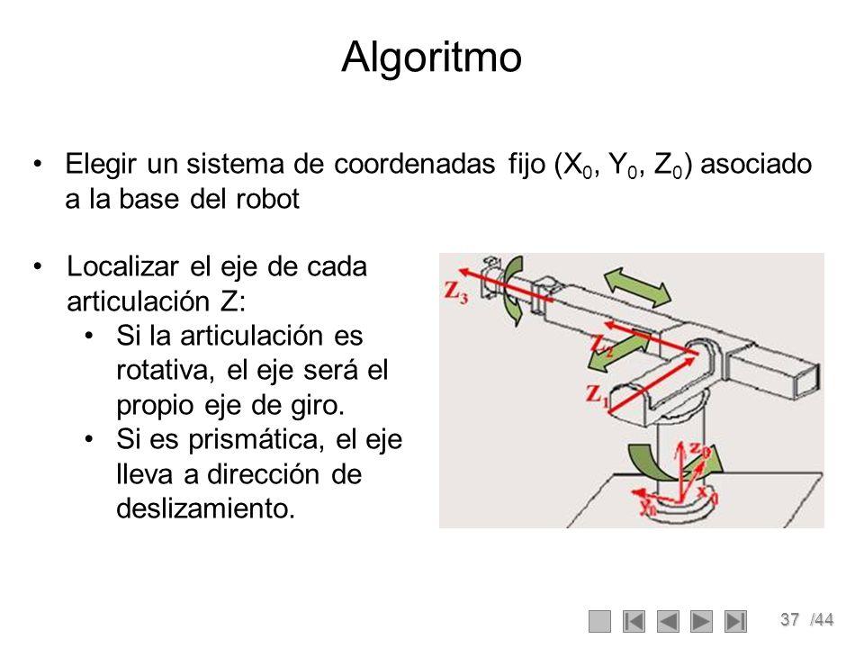 37/44 Algoritmo Elegir un sistema de coordenadas fijo (X 0, Y 0, Z 0 ) asociado a la base del robot Localizar el eje de cada articulación Z: Si la art