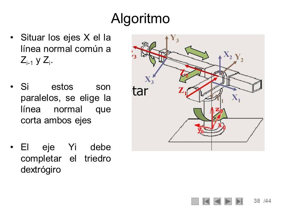 38/44 Algoritmo Situar los ejes X el la línea normal común a Z i-1 y Z i. Si estos son paralelos, se elige la línea normal que corta ambos ejes El eje