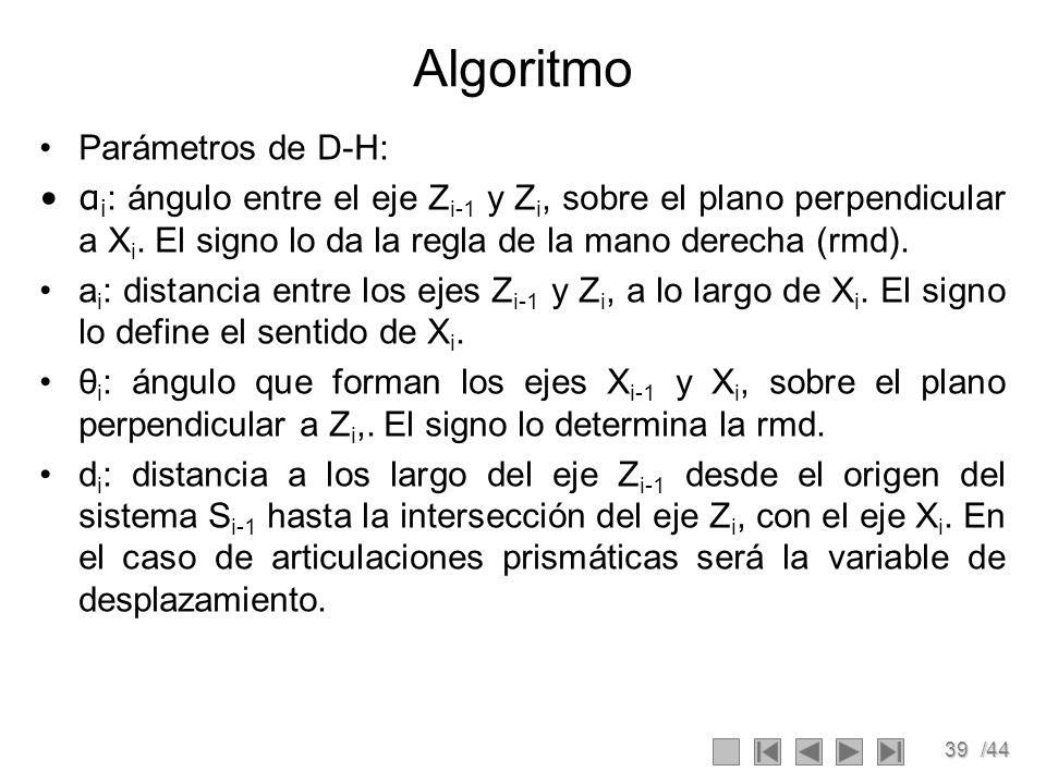 39/44 Algoritmo Parámetros de D-H: α i : ángulo entre el eje Z i-1 y Z i, sobre el plano perpendicular a X i. El signo lo da la regla de la mano derec