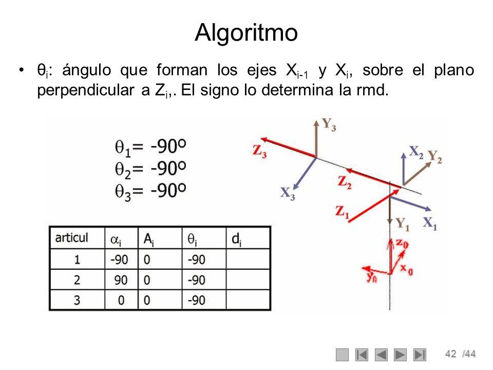 42/44 Algoritmo θ i : ángulo que forman los ejes X i-1 y X i, sobre el plano perpendicular a Z i,. El signo lo determina la rmd.