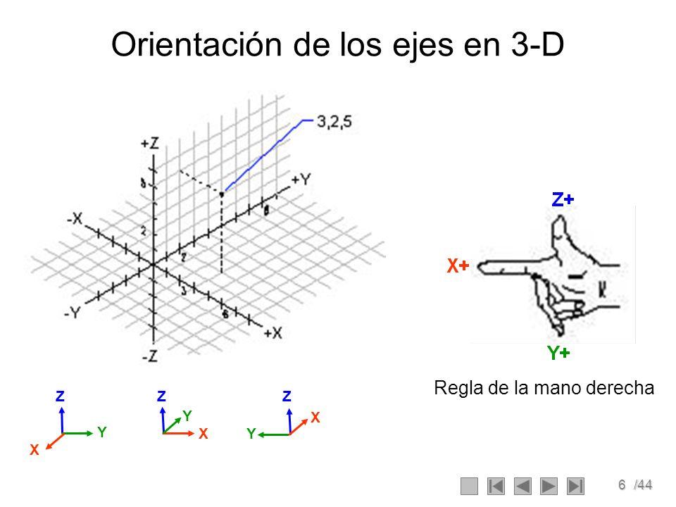 17/44 TRASLACION Cómo expresar la traslación de sistemas de coordenadas: PSea el espacio {B} que se desplaza P con respecto al espacio {A} XAXA YAYA ZAZA {A} XBXB YBYB ZBZB {B} P ABAB T = 1 0 0 p x 0 1 0 p y 0 0 1 p z 0 0 0 1