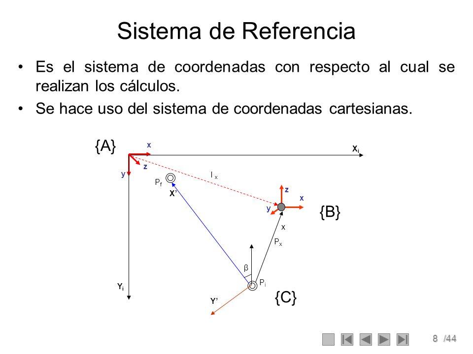 8/44 Sistema de Referencia Es el sistema de coordenadas con respecto al cual se realizan los cálculos. Se hace uso del sistema de coordenadas cartesia