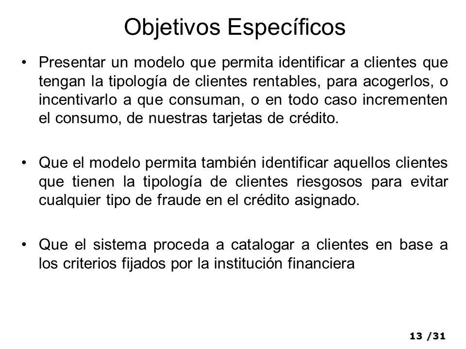 13/31 Objetivos Específicos Presentar un modelo que permita identificar a clientes que tengan la tipología de clientes rentables, para acogerlos, o in
