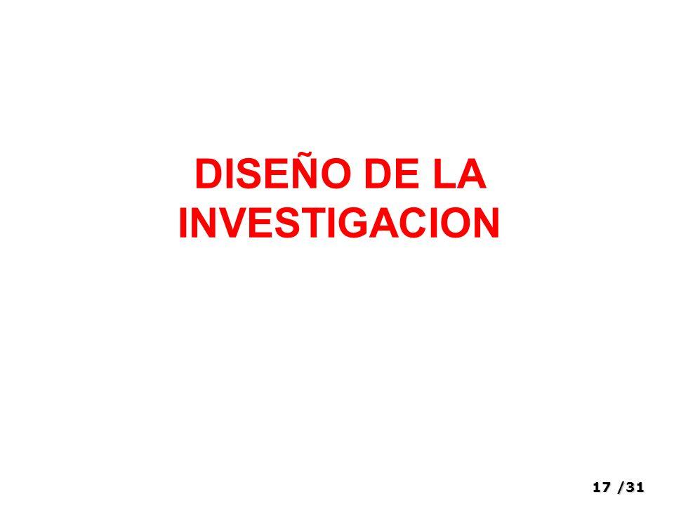 17/31 DISEÑO DE LA INVESTIGACION