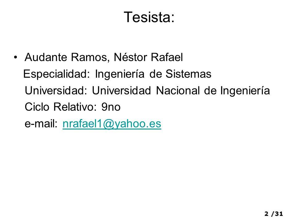 2/31 Tesista: Audante Ramos, Néstor Rafael Especialidad: Ingeniería de Sistemas Universidad: Universidad Nacional de Ingeniería Ciclo Relativo: 9no e-