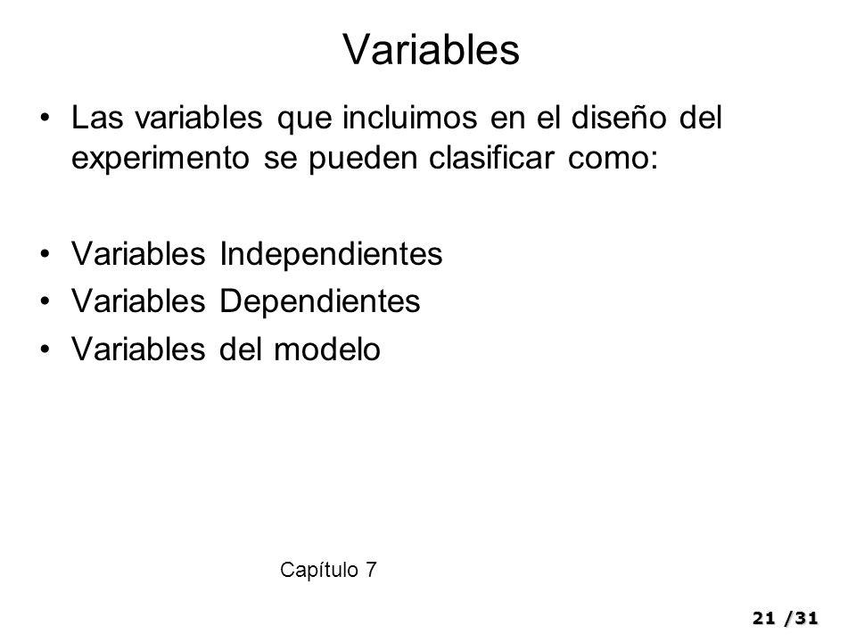 21/31 Variables Las variables que incluimos en el diseño del experimento se pueden clasificar como: Variables Independientes Variables Dependientes Va