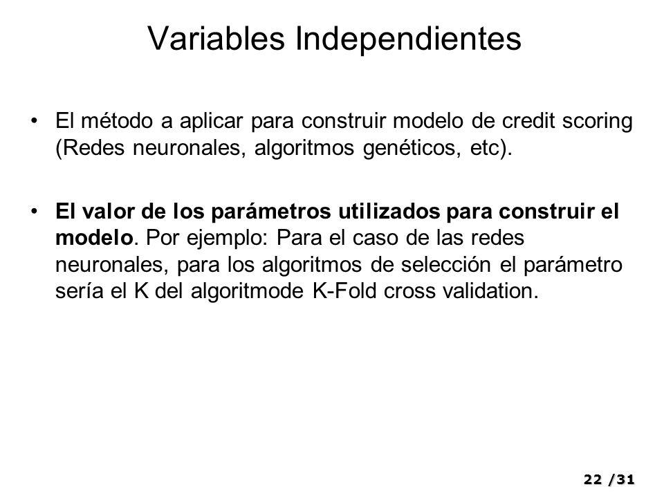 22/31 Variables Independientes El método a aplicar para construir modelo de credit scoring (Redes neuronales, algoritmos genéticos, etc). El valor de