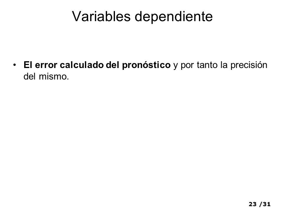 23/31 Variables dependiente El error calculado del pronóstico y por tanto la precisión del mismo.