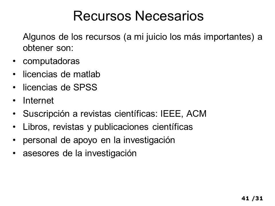 41/31 Recursos Necesarios Algunos de los recursos (a mi juicio los más importantes) a obtener son: computadoras licencias de matlab licencias de SPSS