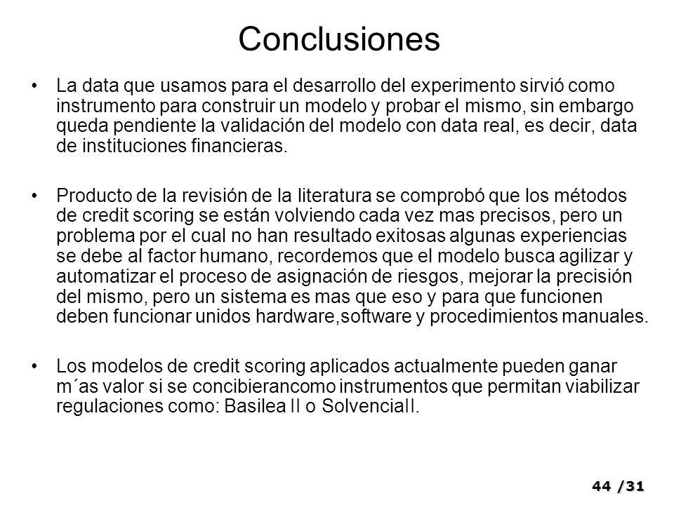 44/31 Conclusiones La data que usamos para el desarrollo del experimento sirvió como instrumento para construir un modelo y probar el mismo, sin embar