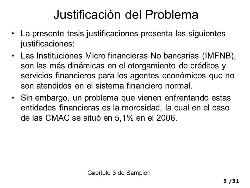 5/31 Justificación del Problema La presente tesis justificaciones presenta las siguientes justificaciones: Las Instituciones Micro financieras No banc