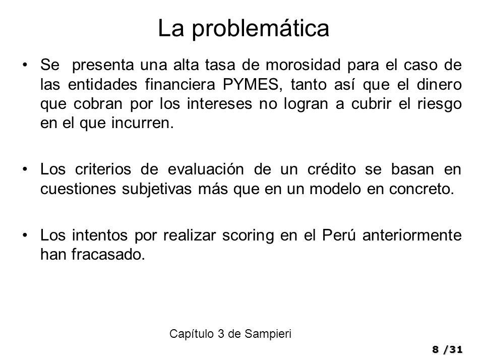 8/31 La problemática Se presenta una alta tasa de morosidad para el caso de las entidades financiera PYMES, tanto así que el dinero que cobran por los