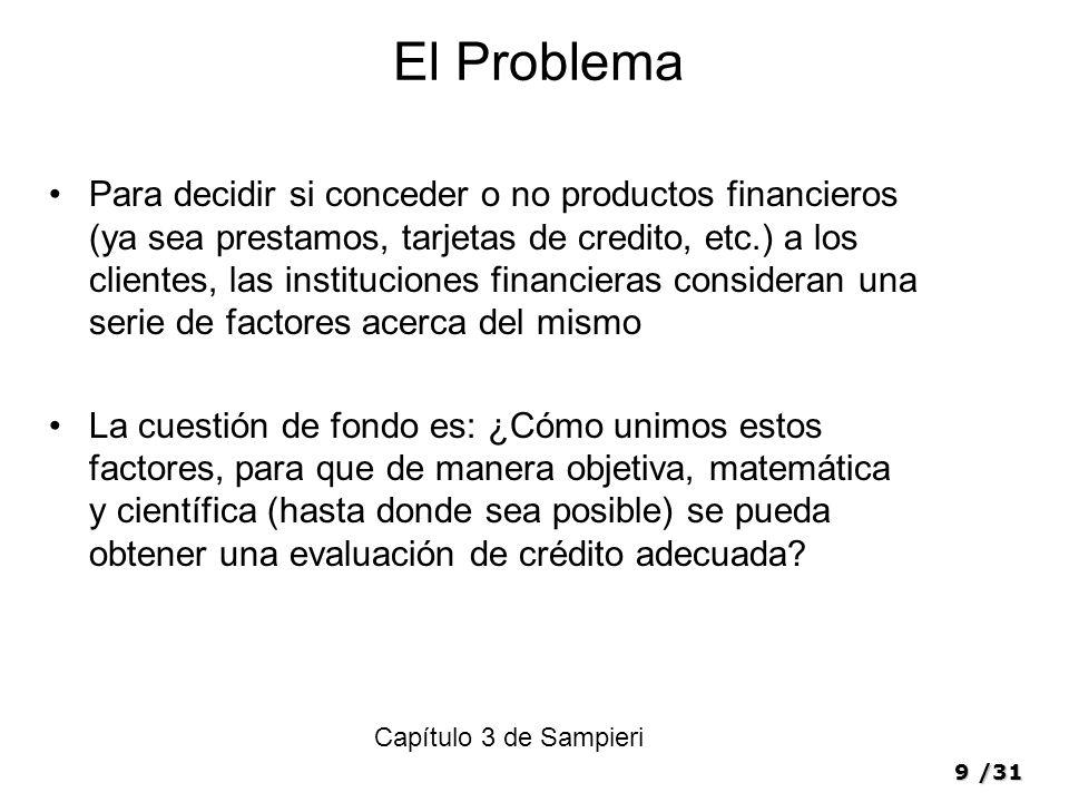9/31 El Problema Para decidir si conceder o no productos financieros (ya sea prestamos, tarjetas de credito, etc.) a los clientes, las instituciones f