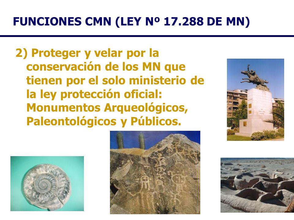 FUNCIONES CMN (LEY Nº 17.288 DE MN) 2) Proteger y velar por la conservación de los MN que tienen por el solo ministerio de la ley protección oficial: