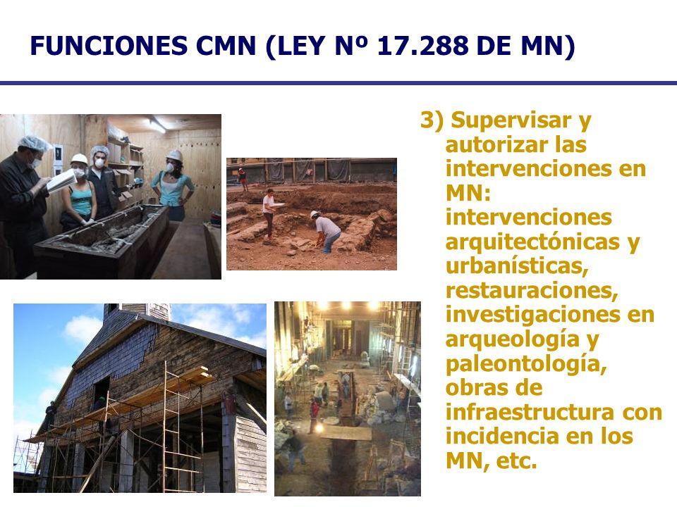 FUNCIONES CMN (LEY Nº 17.288 DE MN) 3) Supervisar y autorizar las intervenciones en MN: intervenciones arquitectónicas y urbanísticas, restauraciones,