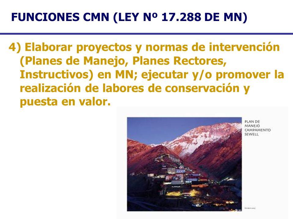FUNCIONES CMN (LEY Nº 17.288 DE MN) 4) Elaborar proyectos y normas de intervención (Planes de Manejo, Planes Rectores, Instructivos) en MN; ejecutar y